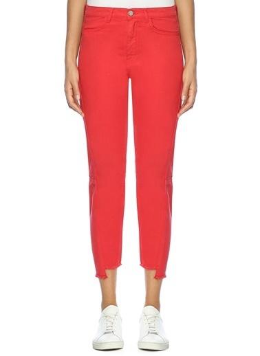 Academia Slim Fit Kısa Jean Pantolon Kırmızı